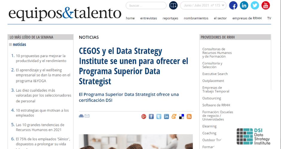 equipos&talento se hace eco de nuestra alianza con Cegos España para el lanzamiento de la próxima edición del Programa Superior Data Strategist